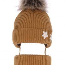 pol_pl_Komplet-dla-dziewczynki-czapka-i-komin-zimowy-brazowy-Delicja-3839_1