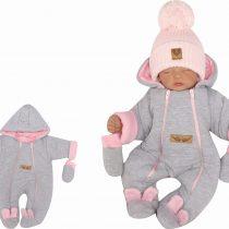 Unikalny-szary-kombinezon-niemowlecy-zimowy.-Pajac-ocieplany--dla-noworodka,-niemowlaka-modny-pajacyk-na-zime